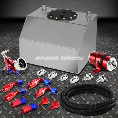 4 Gallon Racing Fuel Cell Tank+Line Kit+Pressure Regulator+Inline Filter Red