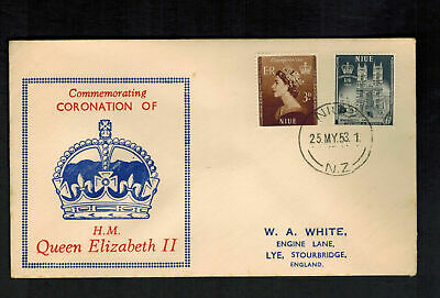 1953 Niue Coronation to England first day cover QE 2 Queen Elizabeth II FDC