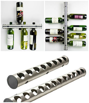 Stainless Steel 12 8 Bottle Wine Rack Bar Kitchen Wall Mounted Holder Silver New