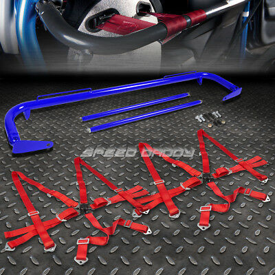 """Blue 49""""stainless Steel Chassis Harness Bar+Red 6-Pt Strap Camlock Seat Belt"""