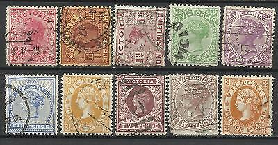 VICTORIA Collection of 10 Different COLONIES STATES Stamps Used (Lot 7)