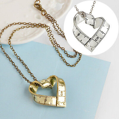 Punk Women Ruler Twisted Heart Shape Pendant Chain Chocker Necklace Jewelry Gift