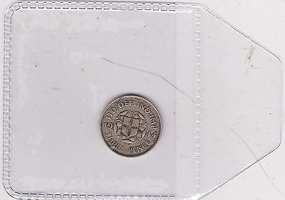 1944 Key Date Silver Threepence In Good Fine Condition