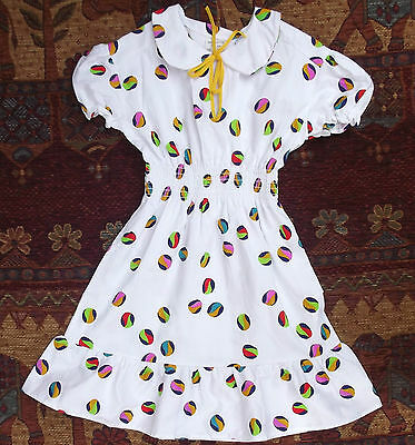 Girls summer dress Vintage 1970s UNUSED bright beach ball COTTON repp 5-6 10-11