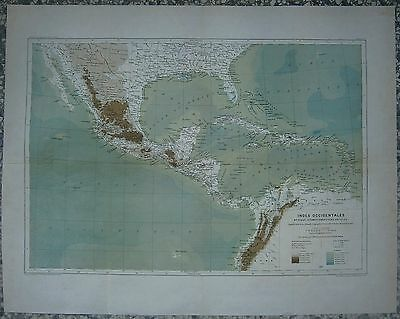 1891 Reclus map MEXICO, CENTRAL AMERICA AND CARIBBEAN (#4)