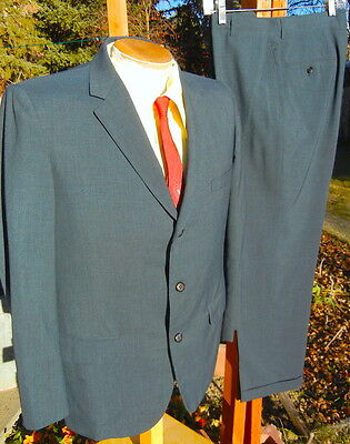 Vintage Dated 1963 PEACOCK BLUE Suit 42S 32x29 - Alterable - Peg Legs & Cuffs