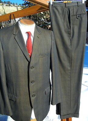 Vintage 1960s 3 Button SHARKSKIN Suit 44L 34x30  Shiny Charcoal & Gold By Curlee