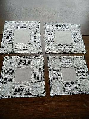 Four vintage Irish linen table mats with Lefkara embroidery and needlelace.