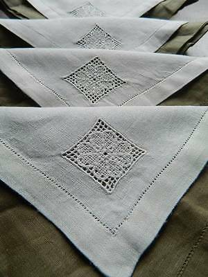 Vintage set of six Irish linen napkins with lace motif to one corner