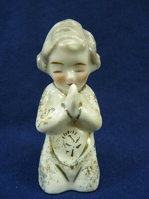 "Vintage Japan Kneeling Praying Woman Figurine Gold Accents 2.5"" tall (pt779)"