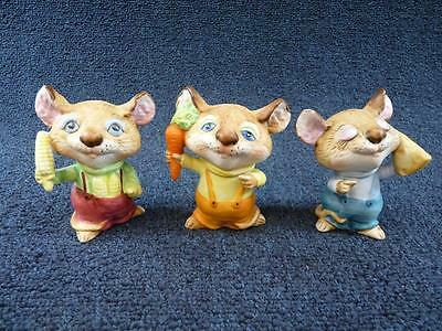 Vintage Homco Harvest Mice Mouse Set Of 3 Sweet !!! (a694)