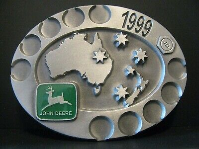 john Deere Limited Australia Service Training Pewter Belt Buckle 1999 Ltd Ed 044