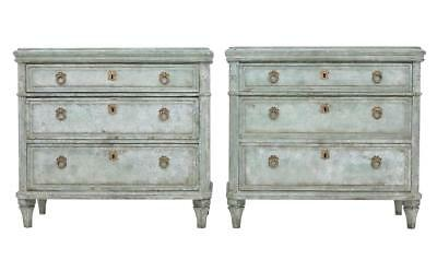 Pair Of 19Th Century Swedish Painted Commodes Chest Of Drawers