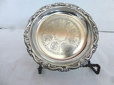 """Vintage 4 1/8"""" Etched Silver Plates EP on Steel Coaster Plate Dish Made in Italy"""