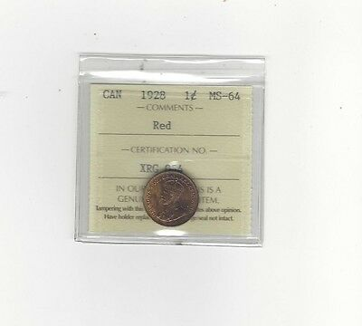 **1928** ICCS Graded Canadian, Small One Cent, **MS-64**