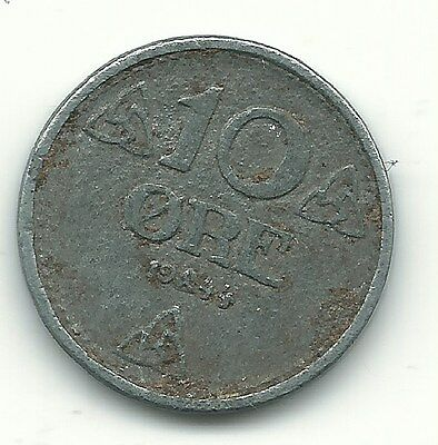 A Very Fine Plus 1944 Norway 10 One Ore Coin-Apr663