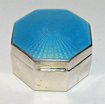 Beautiful Vintage Guilloche Enamel Sterling Silver Stamp Box