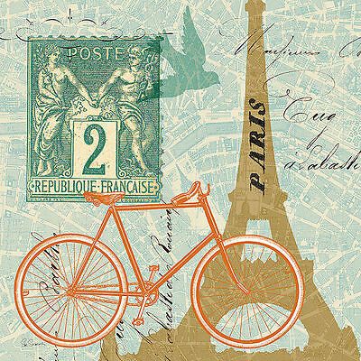 Sue Schlabach: Postcard from Paris Collage Fertig-Bild 30x30 Postkarte Vintage