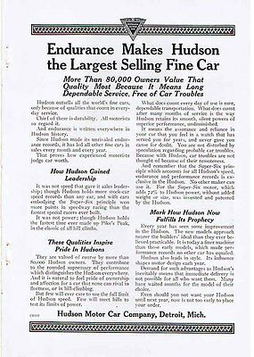 HUDSON 'Largest Selling Fine Car' 1920 Ad