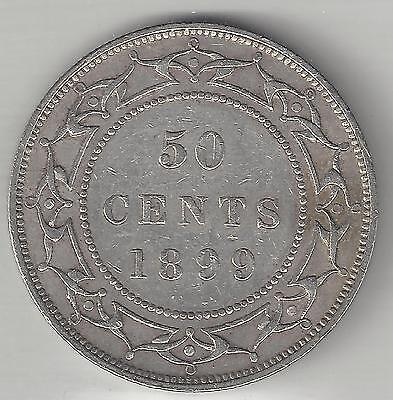 NEWFOUNDLAND, CANADA, 1899 (WIDE 9's), 50 CENTS, SILVER, KM#6, EXTRA FINE (Note)