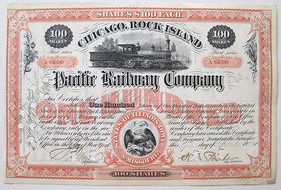 Chicago Rock Island & Pacific Railroad Stock Cert 1904