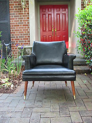 Mid Century Modern Black Splay Leg Lounge Chair