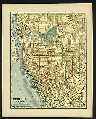 Vintage Street Map 1903 CITY OF BUFFALO, NEW YORK Color Lithographic Bookplate