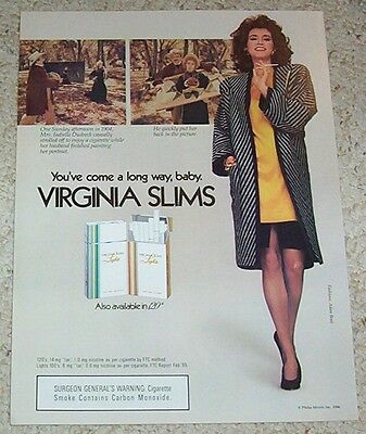 1986 print ad - Virginia Slims Cigarettes girl smoking Isabella Dudreck portrait
