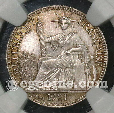 1921 NGC MS 63 French Indo China Silver 10 cent France Colony Coin (16091402D)