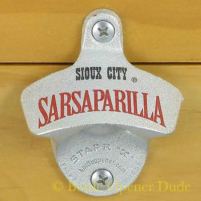 SIOUX CITY SARSAPARILLA Wall Mount STARR X Metal Bottle Opener, NEW!!!