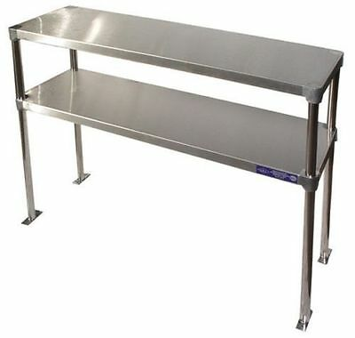 "Stainless Steel 14"" x 48"" Table Mounted Adjustable Double Over-Shelf - NSF"