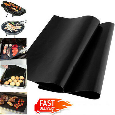 Black Reuseable Oven & Pan Liner Baking Non-Stick Cooking Grill Mat Sheet 1/2pcs