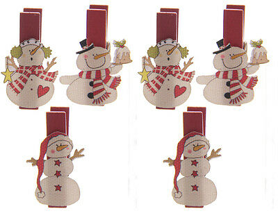 Puckator Novelty Snowman Mini Pegs Pack of 6 Pack of 6 Decor Crafts Home Office