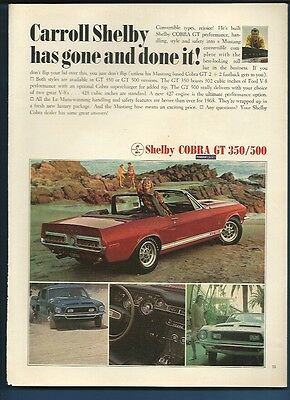 Vintage 1969 Ford Mustang Shelby Cobra GT magazine ad