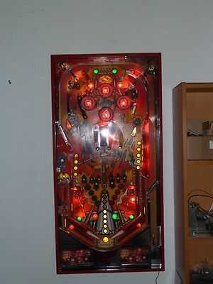 Illuminated pinball playfield (Road Kings by Williams)