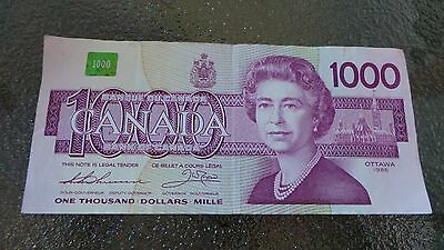 1988 Canadian $1000 Dollar Bank Note Paper Bill EKA1716812 Circulate Canada