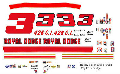 #3 Buddy Baker Royal Dodge 1968-69 Ray Fox 1/24 - 1/25th scale Waterslide Decals