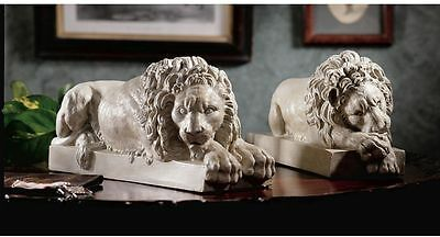 Neoclassical Set of 2 Lion Statues Confident lions Sculpture NEW