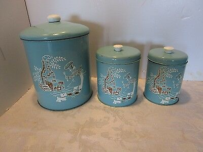 Vintage Tin Kitchen Canisters Set 3 Containers turquoise 1950-60s Original retro