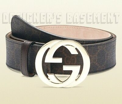 GUCCI black brown 40-100 GG Supreme gold INTERLOCKING G buckle belt NWT Authentc