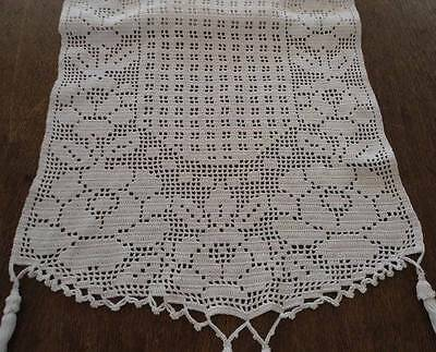 Vintage Filet Crochet Lace Table Runner Trellis Flowers Ecru Tassels 42""