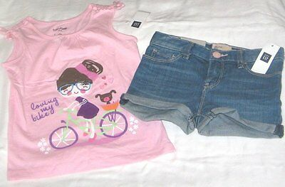 NWT Girls 3T GAP 2 Pc Outfit Denim Shorts and Sleeveless Top NEW