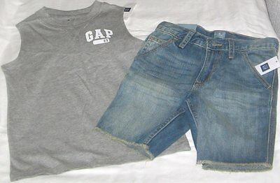 NWT Boys 5T GAP 2 Pc Outfit Denim Shorts and Sleeveless Logo Top NEW