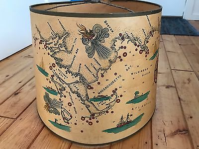 1940's Nantucket Cape Cod Nautical Map Lamp Shade Boston Pictorial Hand Painted