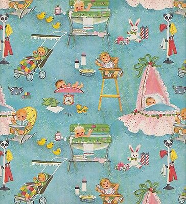 """Colorful Cute Baby Shower Gift Wrap 1950s Vintage 25 x 19"""" Unused NOS"""