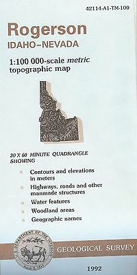 US Geological Survey topographic map metric ROGERSON Idaho-Nevada 1992