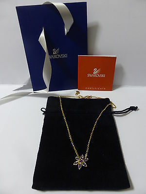 Signed Authentic Swarovski Flower Necklace New With Bag