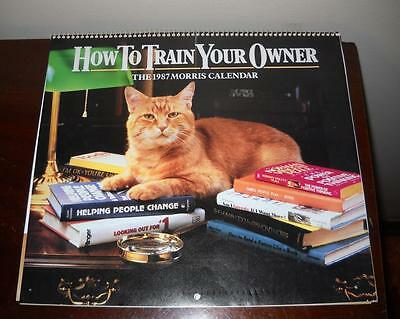 """1987 Morris the Cat Wall Calendar """"clean"""" How to Train Your Owner"""