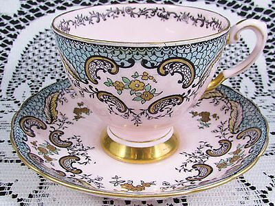 Tuscan Gold Gilt Floral Turquoise & Pink Tea Cup And Saucer