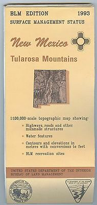 USGS BLM edition topographic map New Mexico TULAROSA MOUNTAINS - 1993